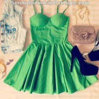 Sexy Green Bustier Dress with Adjustable Straps - Size XS/S/M - Smoky Mountain Boutique