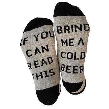 If You Can Read This Bring Me A Cold Beer - Unisex Novelty Crew Socks