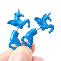 Fake Gauge Earrings: Mythical Unicorn Horse Animal Faux Plug Stud Earrings in Blue