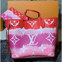 LV Louis Vuitton Cloud Print Letter Two-piece Shoulder Bag Messenger Bag Luggage Bag Long Zip Wallet