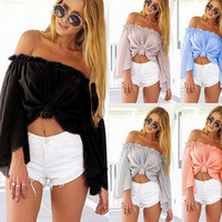 Sexy strapless collar horn sleeve loose blouse beach tops
