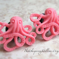 Octopus Plugs for Gauged Ears, Choose Your Color, Sizes 1/2 Inch, 7/16 Inch, 00, 0, 2, 4, 6, 8, 10, 12, 14 gauge,  Also For Pierced Ears