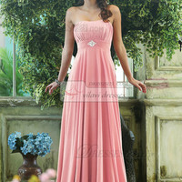 Pleated A-line Chiffon Strapless Floor-length with Crystals and Rhinestones Light Pink Bridesmaid Dresses - US $105.99
