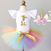 First Year Baby Girl Unicorn Outfit Birthday Dress Princess 1st Baptism Dress For Infant Girls Clothes 1Year Old Toddler Costume