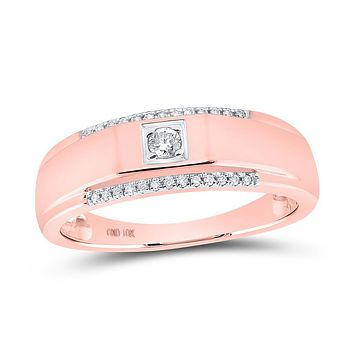 10k Rose Gold Round Diamond Wedding Solitaire Band Ring 1/6 Cttw