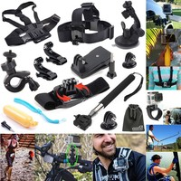 EEEKit Accessories Starter Kit Plus for All GoPro HERO 4 3+ 3 2 Session LCD, Bike Clamp Car Mount, Selfie Pole, Head Chest Wrist Strap
