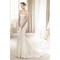 Gorgeous Mermaid Strapless Satin and Lace Wedding Dress