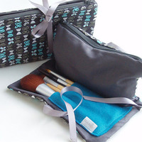 Make up bag small compact size with brush pocket and zip pocket butterfly design grey and teal