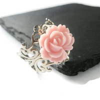 Ring Light Pink Rose filigree Silver Flower adjustable Jewellery Hand Made by Futti Tutti Bead candy