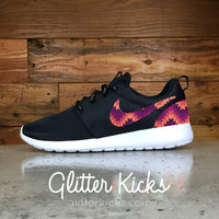 Nike Roshe One Customized by Glitter Kicks - BLACK / WHITE / PURPLE & ORANGE NAVAJO PATTERN