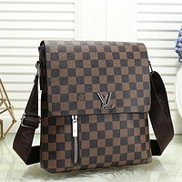 LV Louis Vuitton Men Fashion Leather Crossbody Satchel