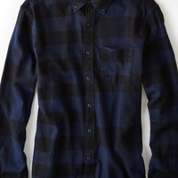 AEO 's Pieced Plaid Flannel Button Down Shirt (Navy)