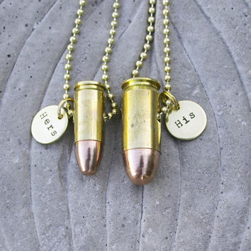 His and Hers Bullet Necklaces Hand Stamped 45 by BulletsAndWire