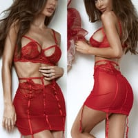 Women Temptation Perspective Gauze Lace Hollow Bandage Garters Skirt Erotic Underwear Lingerie Set Three-Piece