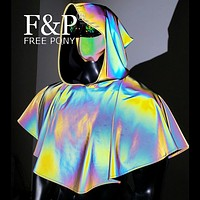 Holographic Iridescent Medieval Hooded Reflective Cape Cloak