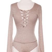 Long Sleeve Space Dye Ribbed Knit Lace Up Bodysuit - Taupe