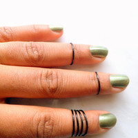 6 Above Knuckle Ring, Adjustable Finger Ring, Black Slim Stackable rings, Edgysheeq statement rings for everyday Flair