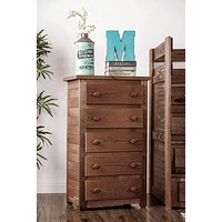 Wooden Rustic Style 5 Drawer Chest In Mahogany Finish, Brown By Casagear Home