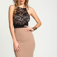 Taupe Lace Sweetheart Midi Dress