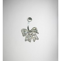 14 Gauge Silver Bling Bow Banana Belly Button Ring - Spencer's