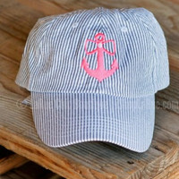 JADELYNN BROOKE ANCHOR GRAY SEERSUCKER CAP