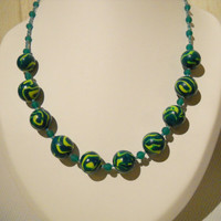 Fimo necklace with handmade beads in green and yellow with green glass beads, Fimo beads, Fimo jewelry, Polymer clay