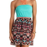 Strapless Belted Lace & Printed Chiffon Dress - Turquoise Combo