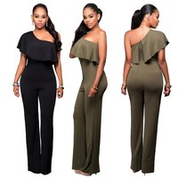 Womens Urban Ruffle Off Shoulder Jumpsuit