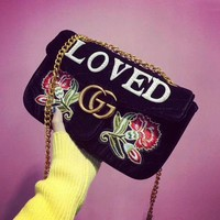 Gucci Women Metal velvet Embroidery Chain Shoulder Bag Satchel  I-AGG-CZDL