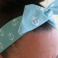 Dolly Bow, Blue with Anchors, Wire Headband 50s Hair Accessory Pinup Hair accessory Teen Woman Girl Hair Accessory