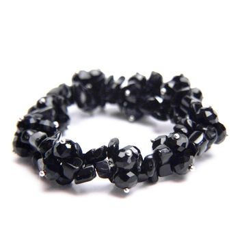 Black Agate Natural Stone and Crystal Beaded Stretch Bracelet