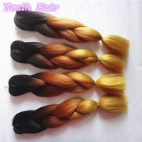 free shipping3-10 pack Two Tone brown gold Ombre Kanekalon Braiding Hair Kanekalon Jumbo Braid Synthetic Braiding Hair Extension