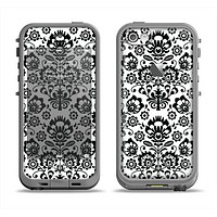 The Black Floral Delicate Pattern Apple iPhone 5c LifeProof Fre Case Skin Set
