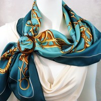 Authentic Vintage Hermes Silk Scarf Profile - Selliere Turquoise
