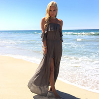 Bayshore Off Shoulder Romper Maxi In Olive