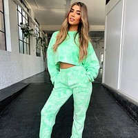 2020 hot new short sweater fashion sports tie-dye two-piece suit jumpsuit green