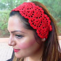 Hair Fashion, Hair Accessories Handcrocheted Headband, Summer Headband in Red Color