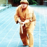 CHRIS FARLEY BEVERLY HILLS NINJA 8X10 PHOTO IN KARATE STANCE