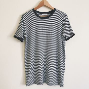 Maggie Striped Black and White T-shirt Dress