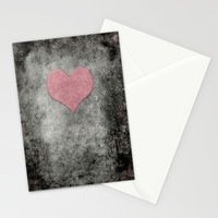 Valentines Grunge Love in Opal Pink Stationery Cards by Bruce Stanfield