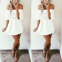 ONETOW Short Sleeve strapless Dress