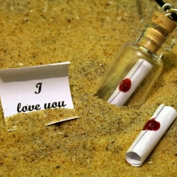"""Personalised custom message in a bottle glass vial pendant with """"I Love You"""" red wax sealed scroll- ideal for anniversary or valentines"""