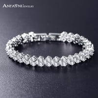 ANFASNI Wedding Bracelets & Bangles High Quality Real Platinum Plated AAA Zircon Bride Bracelet Bangle For Women CBR0002-B