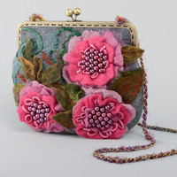 Felted bag with flowers and chain handle