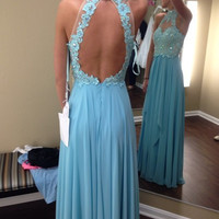 Hot Sale Floor Length Sky Blue High Neck Sexy Open Back Beaded Lace Appliques Long Prom Dresses 2016 Vestidos Formal Party Gown