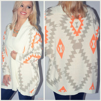When Skies Are Gray Aztec Print Cardigan