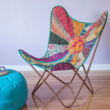 Karma Living Boho Relaxed and Ravishing Butterfly Chair in Patchwork
