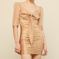 2020 new women's deep V sexy mesh sleeve stitching dress