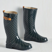 Darling Puddle Jumper Rain Boot in Teal Dots