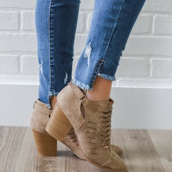 One Step Away Booties - Taupe